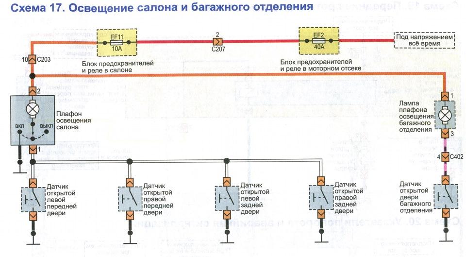 Фото №2 - схема освещения салона ВАЗ 2110
